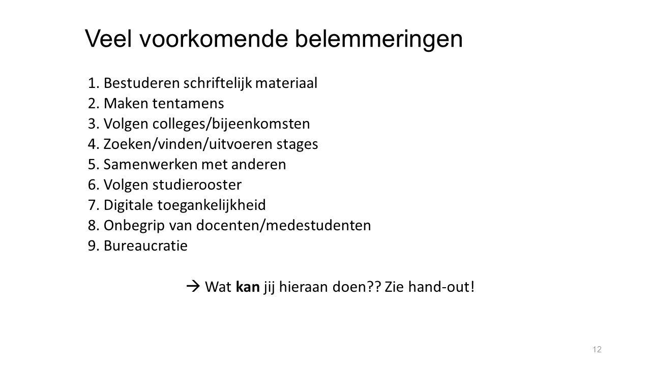 Veel voorkomende belemmeringen 1. Bestuderen schriftelijk materiaal 2. Maken tentamens 3. Volgen colleges/bijeenkomsten 4. Zoeken/vinden/uitvoeren sta