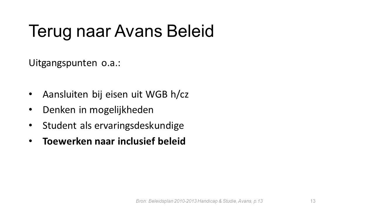 Terug naar Avans Beleid Uitgangspunten o.a.: Aansluiten bij eisen uit WGB h/cz Denken in mogelijkheden Student als ervaringsdeskundige Toewerken naar
