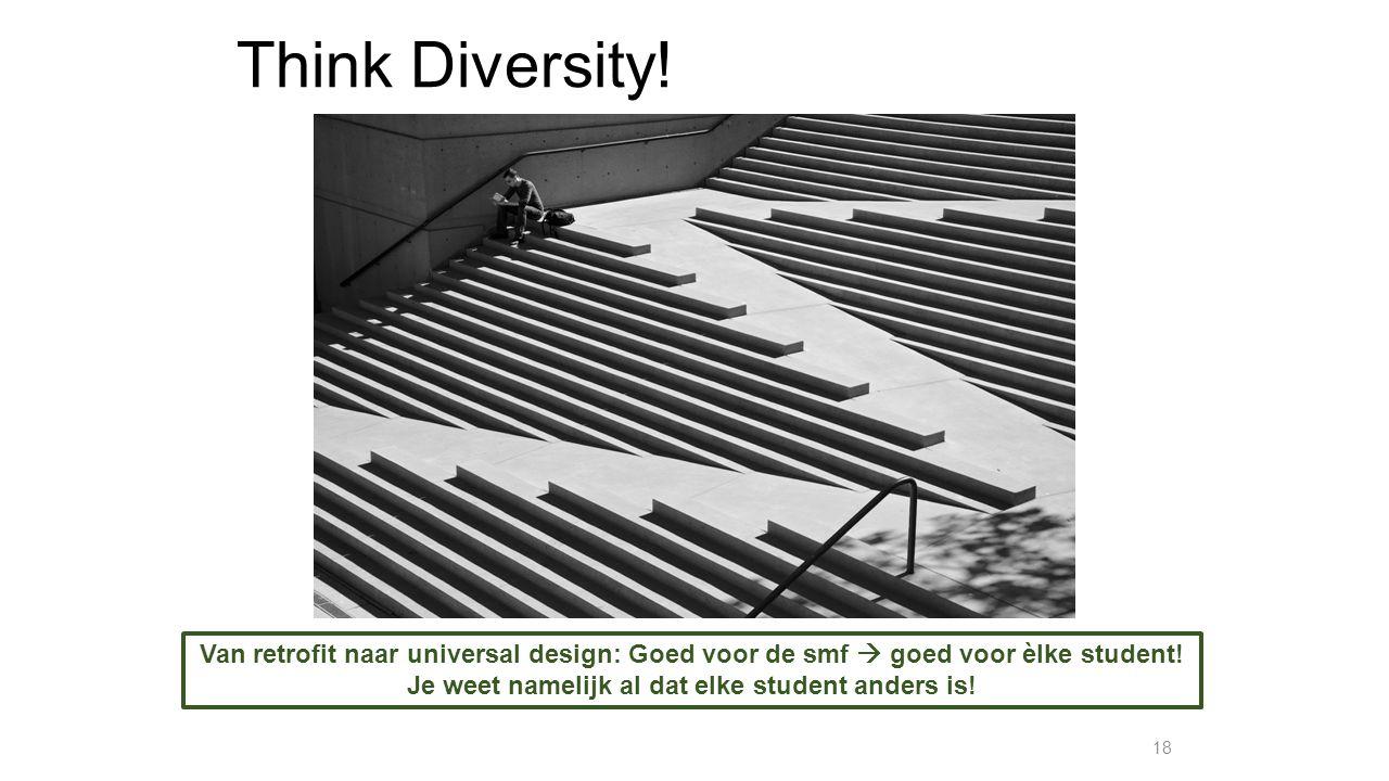 Think Diversity! 18 Van retrofit naar universal design: Goed voor de smf  goed voor èlke student! Je weet namelijk al dat elke student anders is!