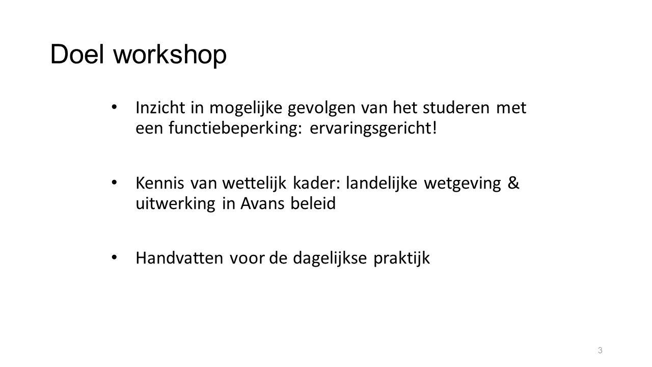 Doel workshop Inzicht in mogelijke gevolgen van het studeren met een functiebeperking: ervaringsgericht! Kennis van wettelijk kader: landelijke wetgev