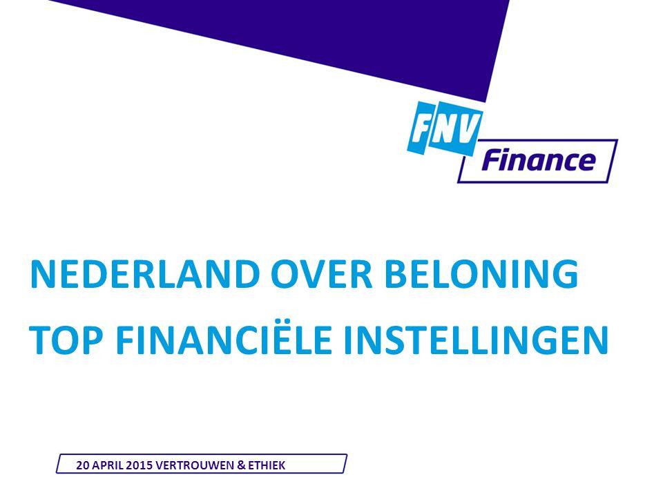 NEDERLAND OVER BELONING TOP FINANCIËLE INSTELLINGEN 20 APRIL 2015 VERTROUWEN & ETHIEK