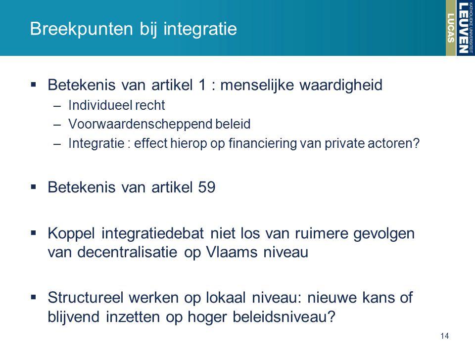  Betekenis van artikel 1 : menselijke waardigheid –Individueel recht –Voorwaardenscheppend beleid –Integratie : effect hierop op financiering van private actoren.
