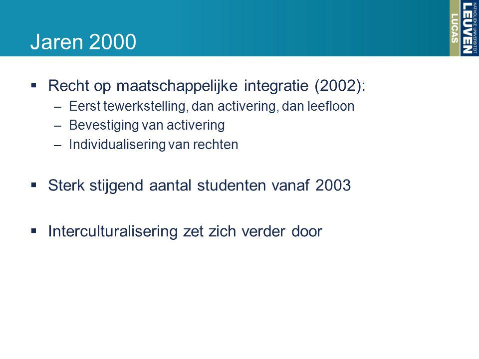 Jaren 2000  Recht op maatschappelijke integratie (2002): –Eerst tewerkstelling, dan activering, dan leefloon –Bevestiging van activering –Individualisering van rechten  Sterk stijgend aantal studenten vanaf 2003  Interculturalisering zet zich verder door