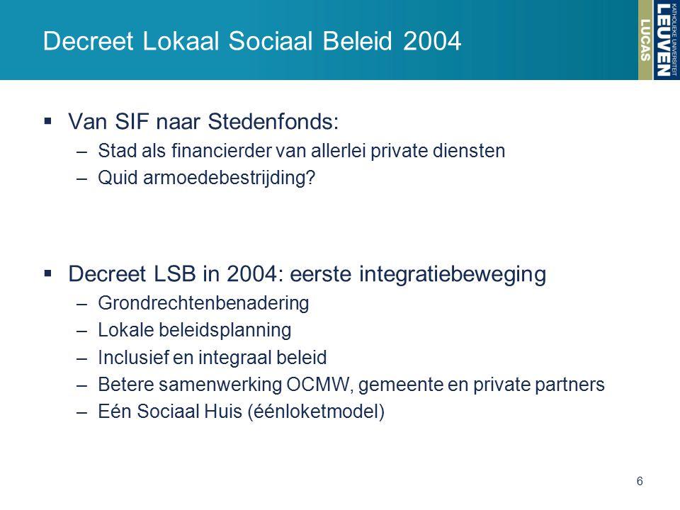  Van SIF naar Stedenfonds: –Stad als financierder van allerlei private diensten –Quid armoedebestrijding.