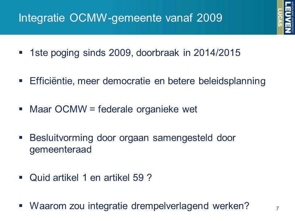  1ste poging sinds 2009, doorbraak in 2014/2015  Efficiëntie, meer democratie en betere beleidsplanning  Maar OCMW = federale organieke wet  Besluitvorming door orgaan samengesteld door gemeenteraad  Quid artikel 1 en artikel 59 .