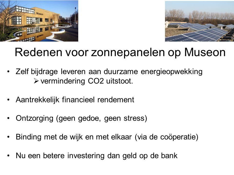 Redenen voor zonnepanelen op Museon Zelf bijdrage leveren aan duurzame energieopwekking  vermindering CO2 uitstoot.