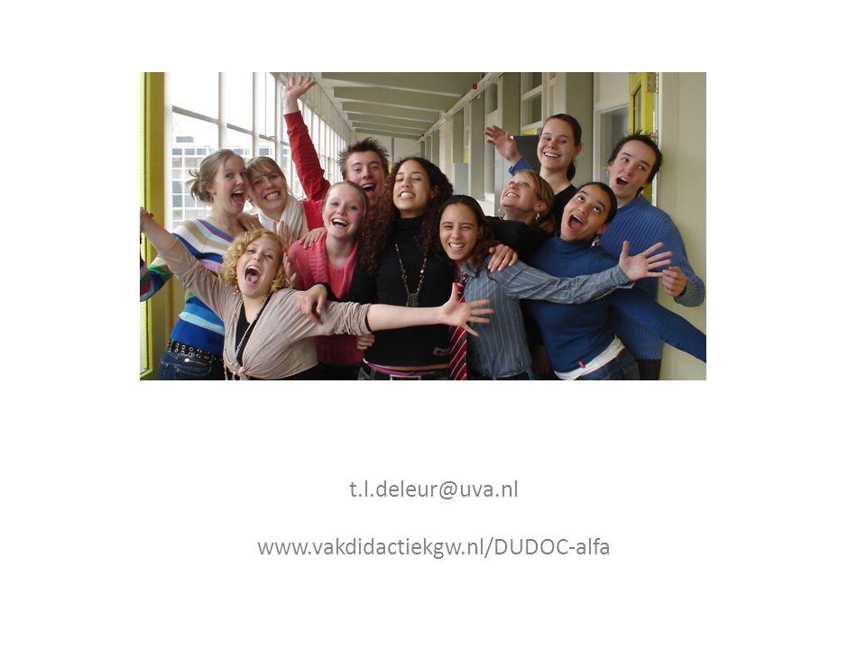 t.l.deleur@uva.nl www.vakdidactiekgw.nl/DUDOC-alfa