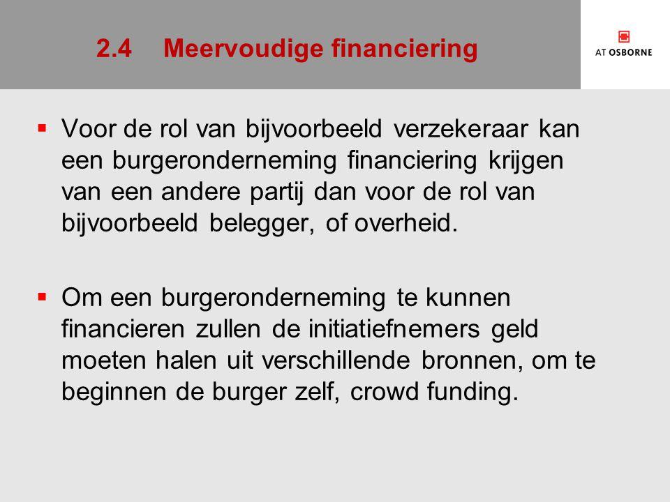 2.4Meervoudige financiering  Voor de rol van bijvoorbeeld verzekeraar kan een burgeronderneming financiering krijgen van een andere partij dan voor d