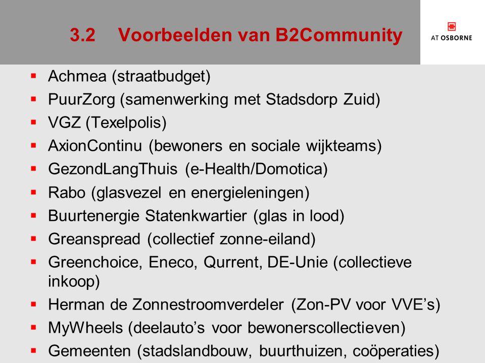 3.2Voorbeelden van B2Community  Achmea (straatbudget)  PuurZorg (samenwerking met Stadsdorp Zuid)  VGZ (Texelpolis)  AxionContinu (bewoners en soc