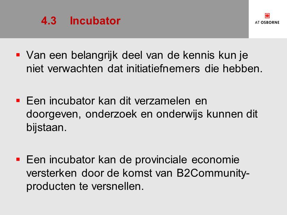 4.3Incubator  Van een belangrijk deel van de kennis kun je niet verwachten dat initiatiefnemers die hebben.  Een incubator kan dit verzamelen en doo
