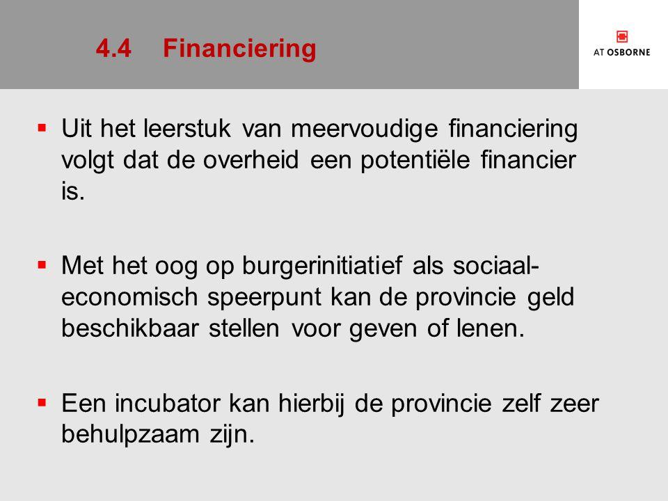 4.4Financiering  Uit het leerstuk van meervoudige financiering volgt dat de overheid een potentiële financier is.  Met het oog op burgerinitiatief a