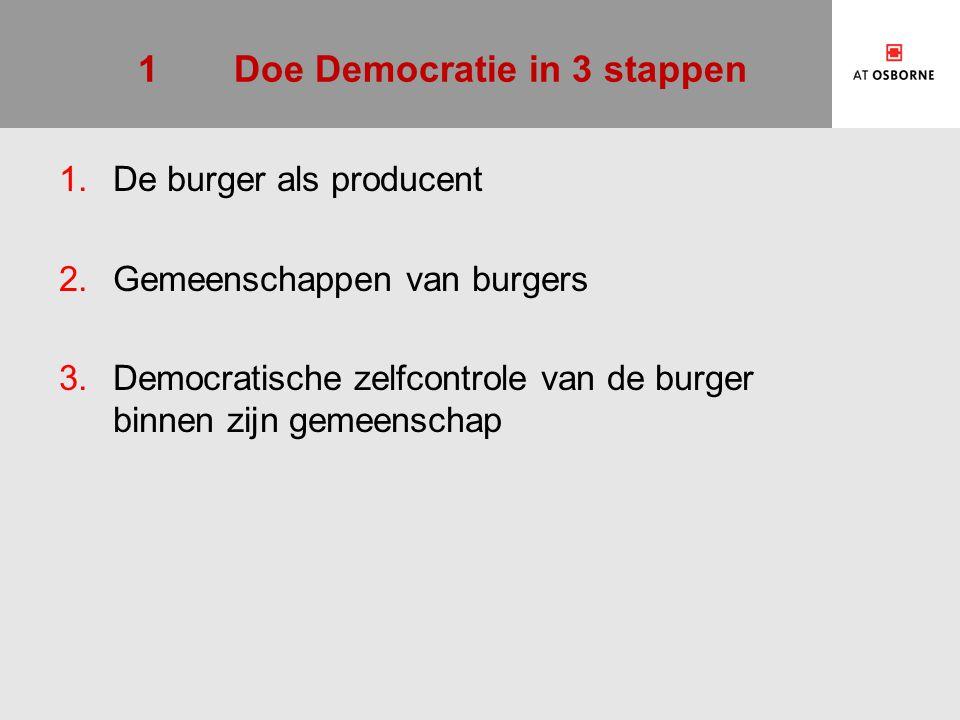 1Doe Democratie in 3 stappen 1.De burger als producent 2.Gemeenschappen van burgers 3.Democratische zelfcontrole van de burger binnen zijn gemeenschap