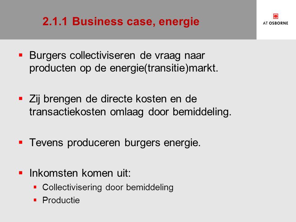 2.1.1Business case, energie  Burgers collectiviseren de vraag naar producten op de energie(transitie)markt.  Zij brengen de directe kosten en de tra