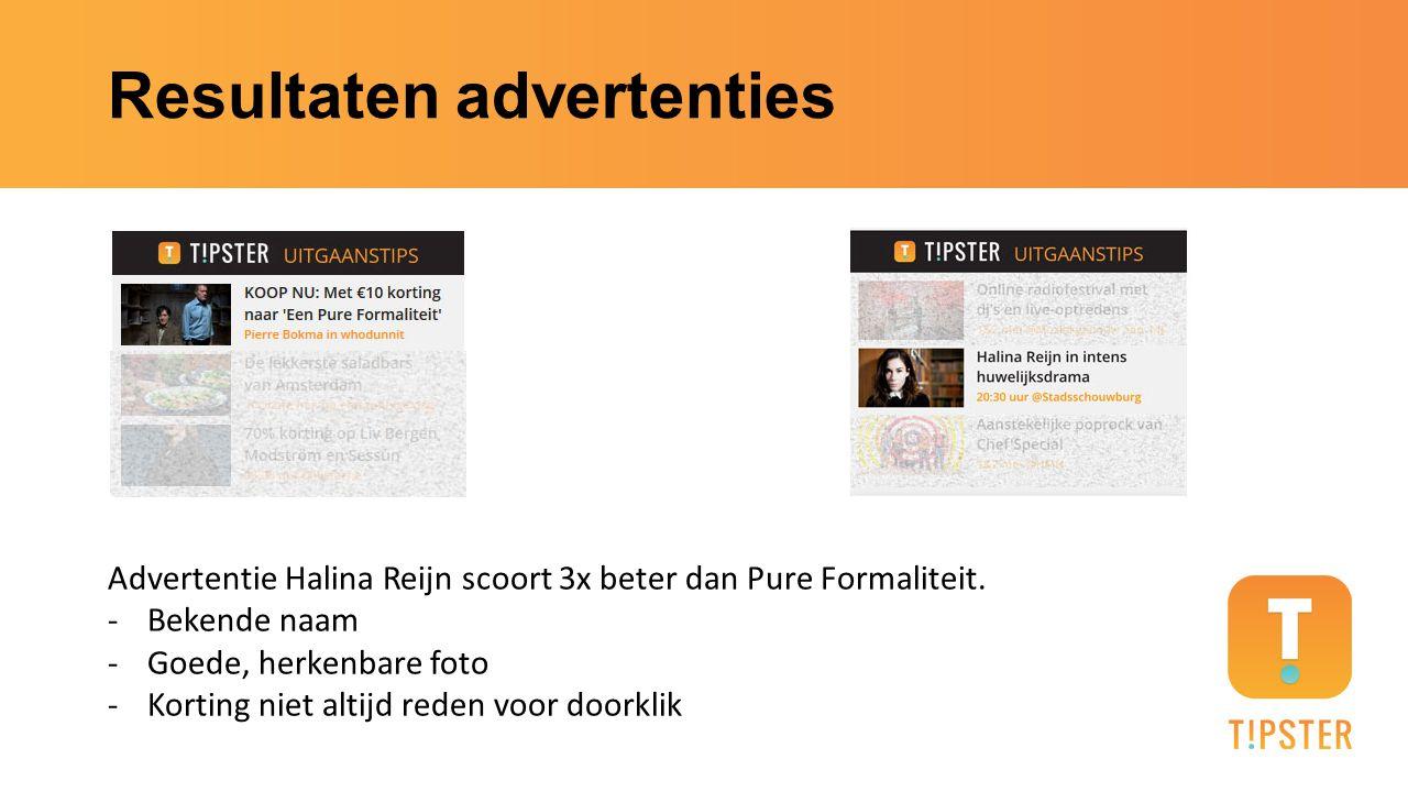 Resultaten advertenties Advertentie Halina Reijn scoort 3x beter dan Pure Formaliteit. -Bekende naam -Goede, herkenbare foto -Korting niet altijd rede