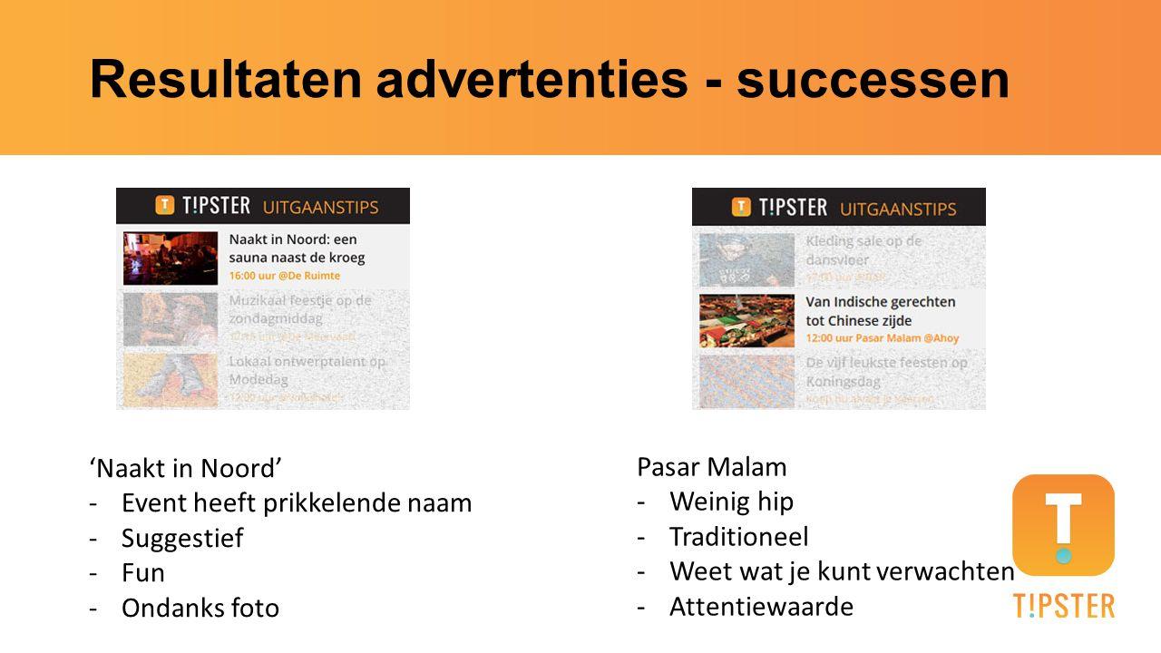 Resultaten advertenties - successen 'Naakt in Noord' -Event heeft prikkelende naam -Suggestief -Fun -Ondanks foto Pasar Malam -Weinig hip -Traditionee