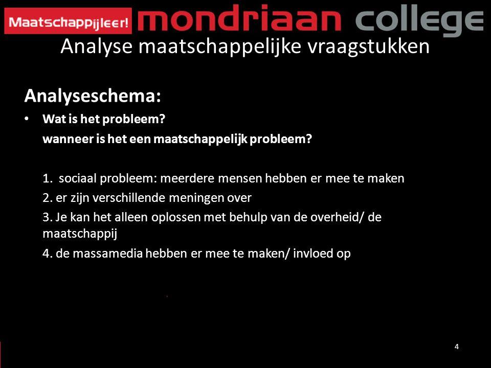 Analyse maatschappelijke vraagstukken Analyseschema: Wat is het probleem? wanneer is het een maatschappelijk probleem? 1. sociaal probleem: meerdere m