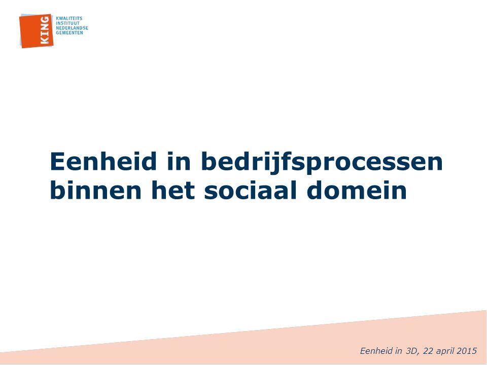 Eenheid in bedrijfsprocessen binnen het sociaal domein Eenheid in 3D, 22 april 2015