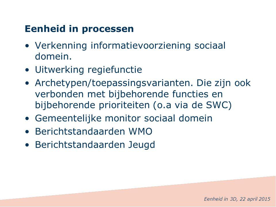 Eenheid in processen Verkenning informatievoorziening sociaal domein. Uitwerking regiefunctie Archetypen/toepassingsvarianten. Die zijn ook verbonden