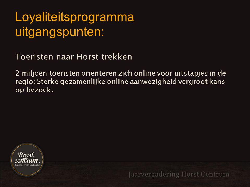 Loyaliteitsprogramma uitgangspunten: Toeristen naar Horst trekken 2 miljoen toeristen oriënteren zich online voor uitstapjes in de regio: Sterke gezam