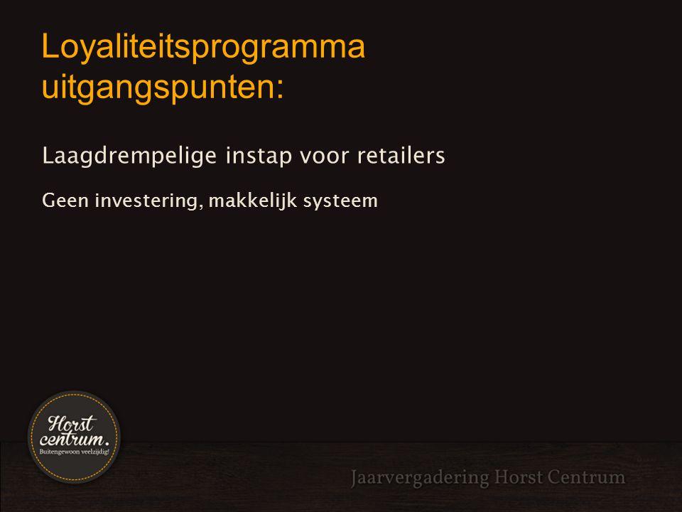Loyaliteitsprogramma uitgangspunten: Laagdrempelige instap voor retailers Geen investering, makkelijk systeem