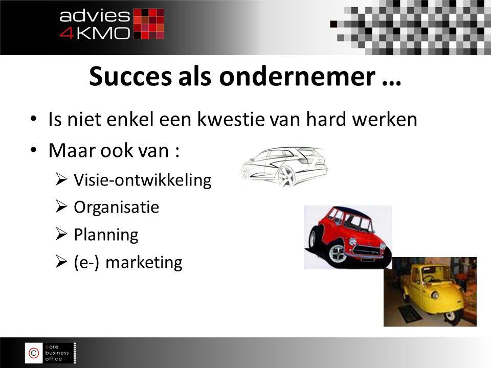 Is niet enkel een kwestie van hard werken Maar ook van :  Visie-ontwikkeling  Organisatie  Planning  (e-) marketing Succes als ondernemer …