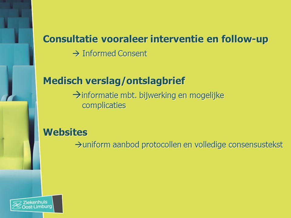 Consultatie vooraleer interventie en follow-up  Informed Consent Medisch verslag/ontslagbrief  informatie mbt.
