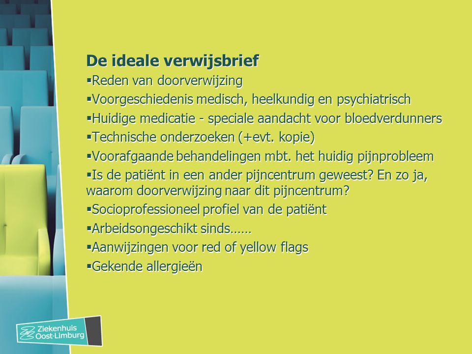 De ideale verwijsbrief  Reden van doorverwijzing  Voorgeschiedenis medisch, heelkundig en psychiatrisch  Huidige medicatie - speciale aandacht voor bloedverdunners  Technische onderzoeken (+evt.