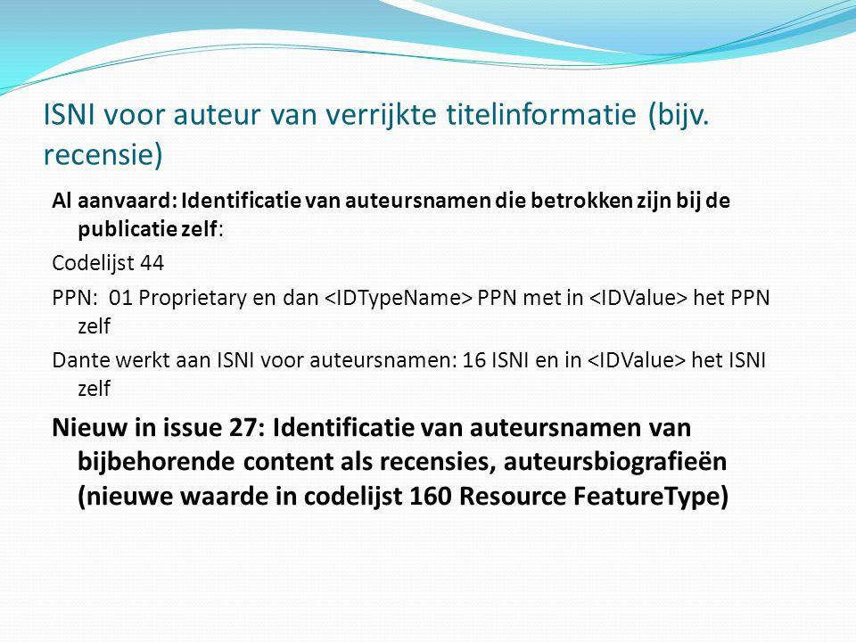 ISNI voor auteur van verrijkte titelinformatie (bijv.