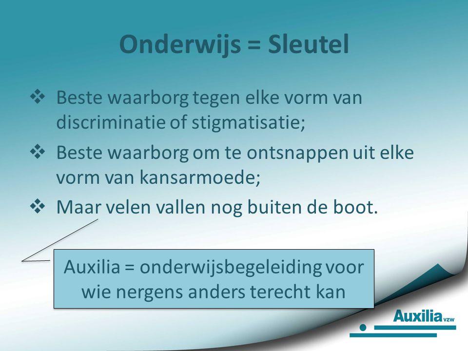 Onderwijs = Sleutel  Beste waarborg tegen elke vorm van discriminatie of stigmatisatie;  Beste waarborg om te ontsnappen uit elke vorm van kansarmoe