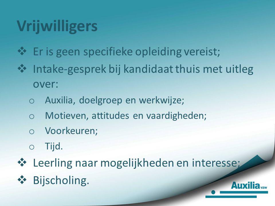 Auxilia Vlaanderen Meer dan 600 vrijwilligers en 1400 leerlingen  Werkzaam sinds 1935;  Vrijwilligersorganisatie met 14 regio's;  Auxilia is uniek: vrijwilliger gaat aan huis individuele begeleiding verzorgen;  Doelgroep: kansarmen die met een onderwijsoplossing hun kansen verhogen.