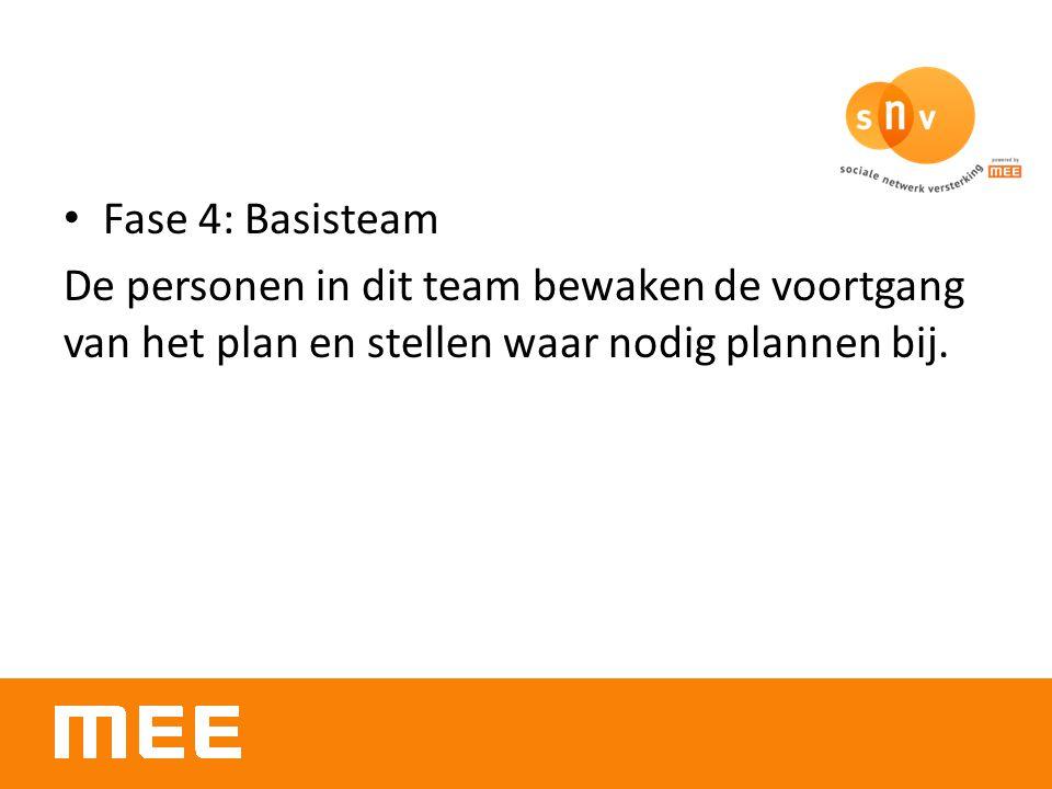 Fase 4: Basisteam De personen in dit team bewaken de voortgang van het plan en stellen waar nodig plannen bij.