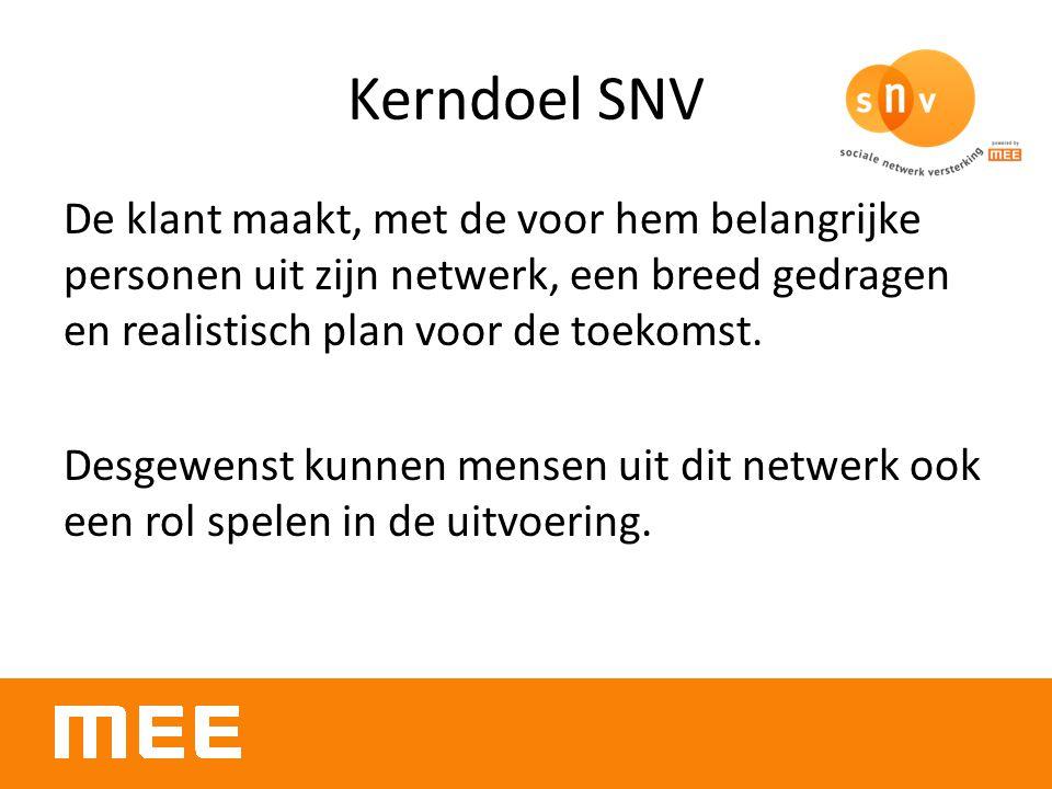 Kerndoel SNV De klant maakt, met de voor hem belangrijke personen uit zijn netwerk, een breed gedragen en realistisch plan voor de toekomst. Desgewens