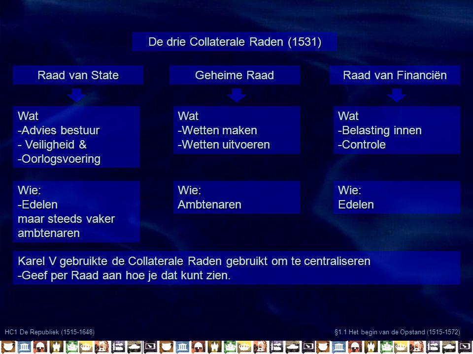 HC1 De Republiek (1515-1648) §1.1 Het begin van de Opstand (1515-1572) De drie Collaterale Raden (1531) Raad van State Karel V gebruikte de Collateral