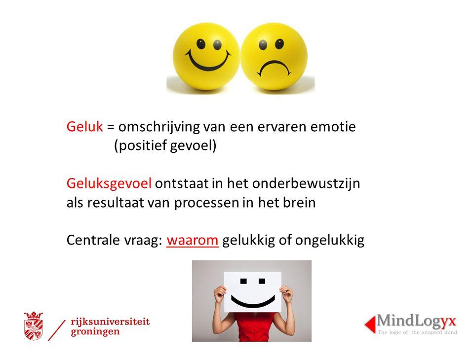 Geluk = omschrijving van een ervaren emotie (positief gevoel) Geluksgevoel ontstaat in het onderbewustzijn als resultaat van processen in het brein Centrale vraag: waarom gelukkig of ongelukkig