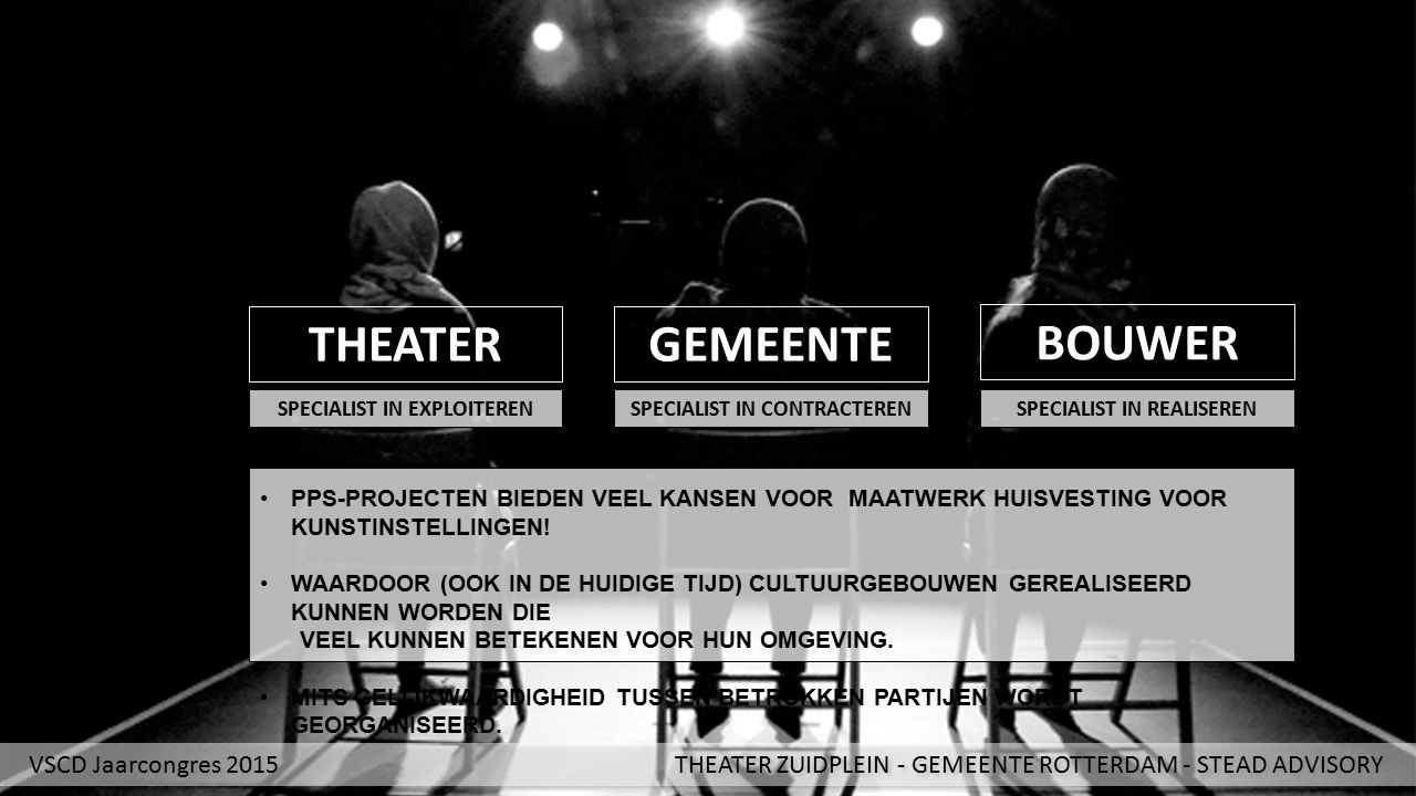 THEATER SPECIALIST IN EXPLOITEREN VSCD Jaarcongres 2015 THEATER ZUIDPLEIN - GEMEENTE ROTTERDAM - STEAD ADVISORY GEMEENTE BOUWER SPECIALIST IN CONTRACT