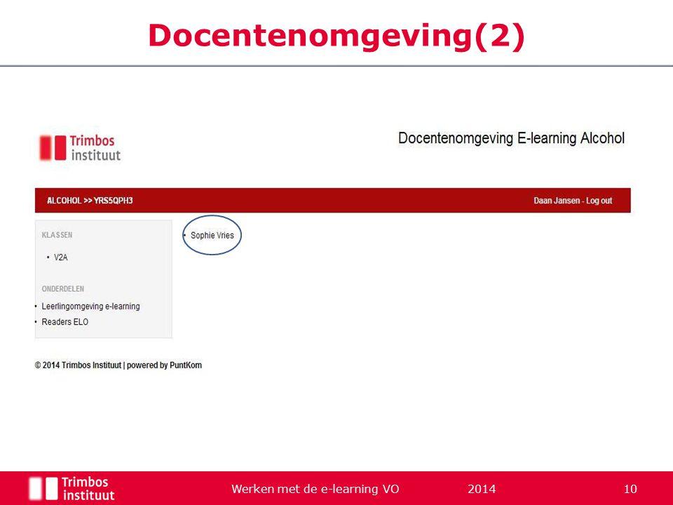 Werken met de e-learning VO 2014 10 Docentenomgeving(2)