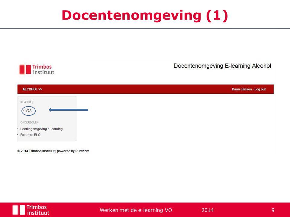 Werken met de e-learning VO 2014 9 Docentenomgeving (1)