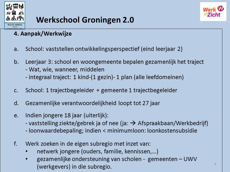 4 4. Aanpak/Werkwijze a.School: vaststellen ontwikkelingsperspectief (eind leerjaar 2) b.Leerjaar 3: school en woongemeente bepalen gezamenlijk het tr
