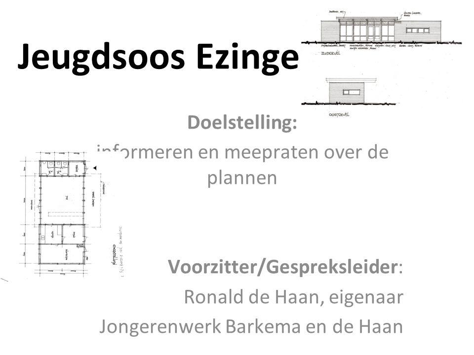Jeugdsoos Ezinge Doelstelling: informeren en meepraten over de plannen Voorzitter/Gespreksleider: Ronald de Haan, eigenaar Jongerenwerk Barkema en de Haan
