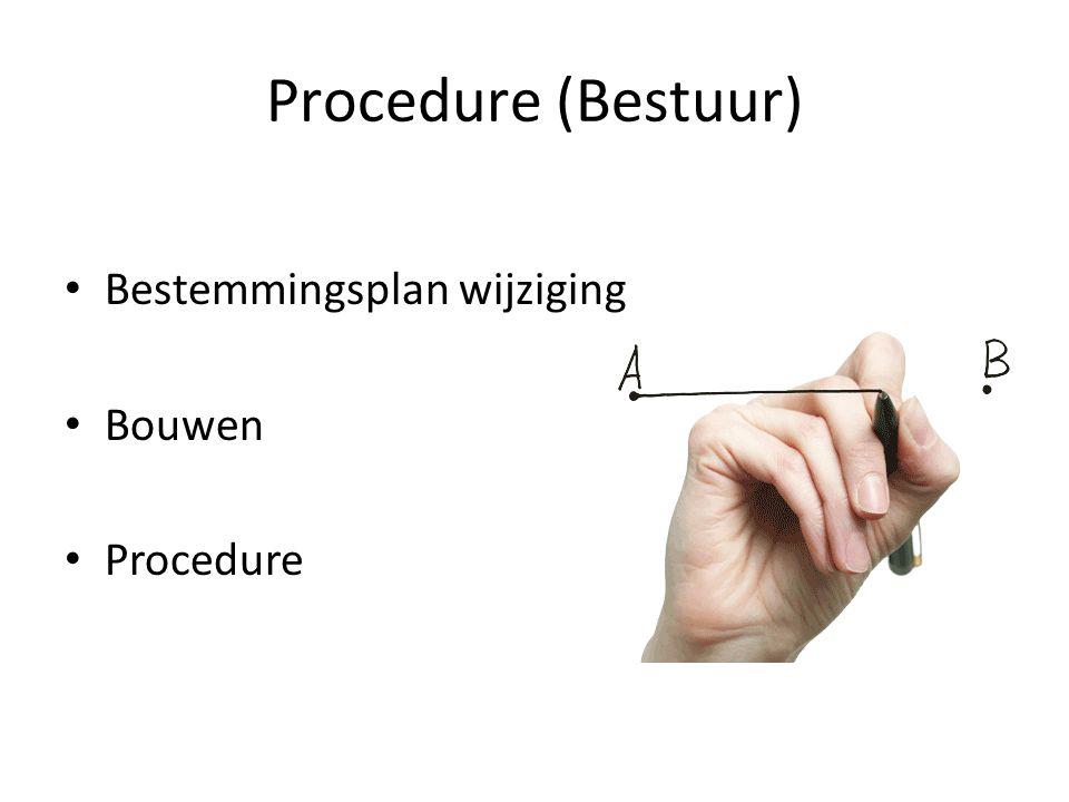 Procedure (Bestuur) Bestemmingsplan wijziging Bouwen Procedure