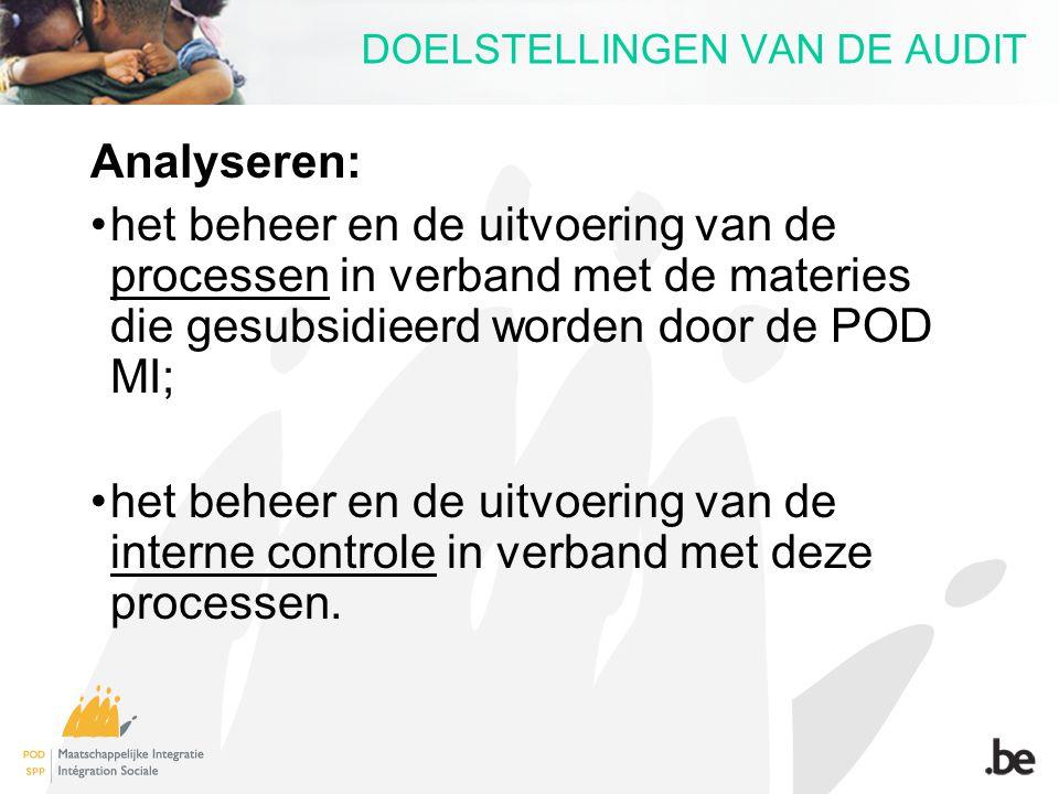 DOELSTELLINGEN VAN DE AUDIT Analyseren: het beheer en de uitvoering van de processen in verband met de materies die gesubsidieerd worden door de POD M