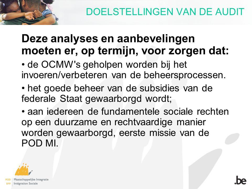 DOELSTELLINGEN VAN DE AUDIT Deze analyses en aanbevelingen moeten er, op termijn, voor zorgen dat: de OCMW's geholpen worden bij het invoeren/verbeter