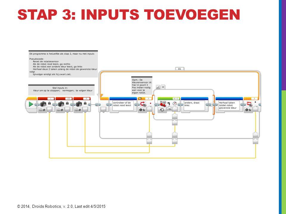 STAP 3: INPUTS TOEVOEGEN © 2014, Droids Robotics, v. 2.0, Last edit 4/5/2015