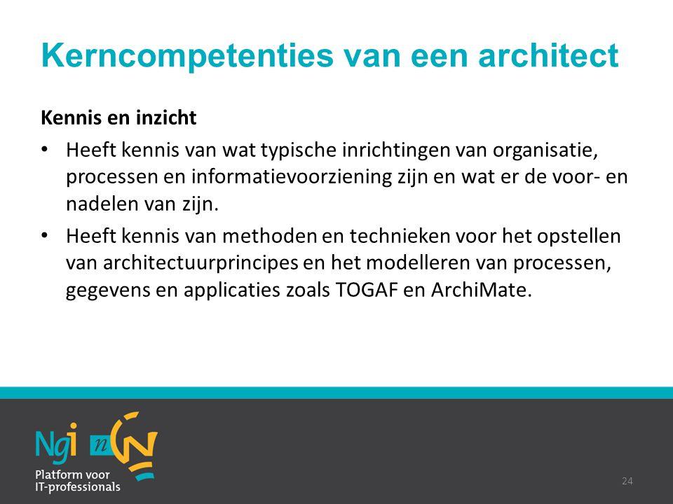 Kerncompetenties van een architect Kennis en inzicht Heeft kennis van wat typische inrichtingen van organisatie, processen en informatievoorziening zi