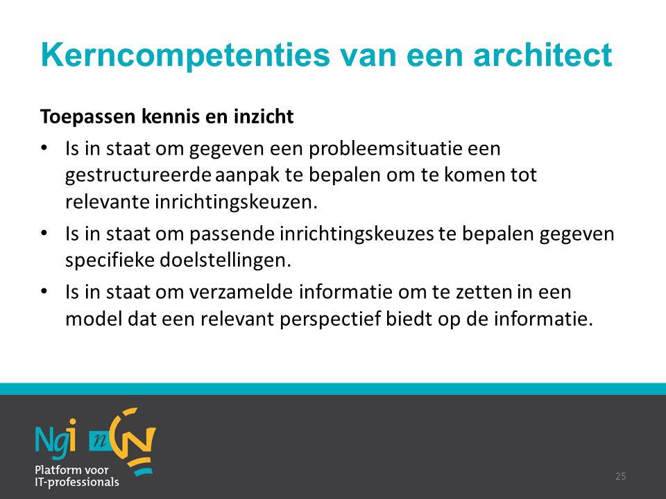 Kerncompetenties van een architect Toepassen kennis en inzicht Is in staat om gegeven een probleemsituatie een gestructureerde aanpak te bepalen om te