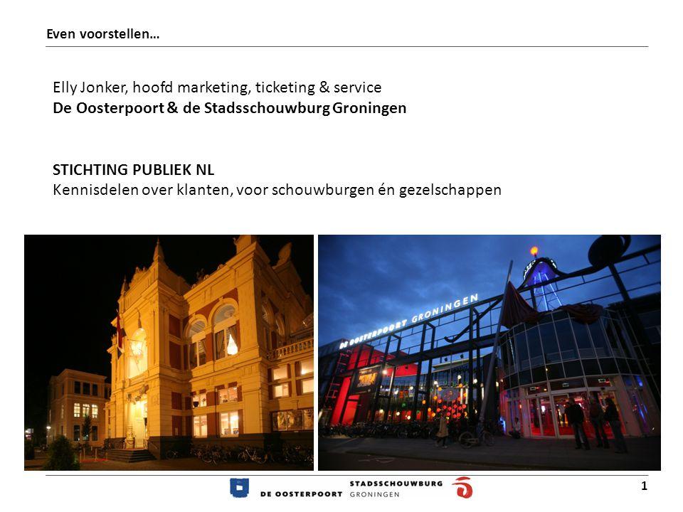 1 Even voorstellen… Elly Jonker, hoofd marketing, ticketing & service De Oosterpoort & de Stadsschouwburg Groningen STICHTING PUBLIEK NL Kennisdelen over klanten, voor schouwburgen én gezelschappen