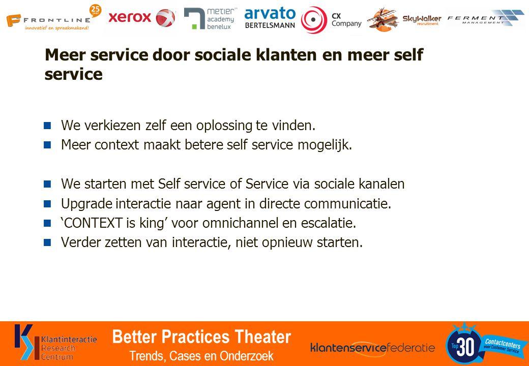 Better Practices Theater Trends, Cases en Onderzoek Meer service door sociale klanten en meer self service We verkiezen zelf een oplossing te vinden.