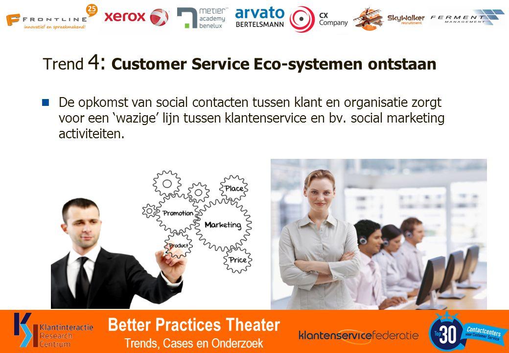 Better Practices Theater Trends, Cases en Onderzoek Trend 4: Customer Service Eco-systemen ontstaan De opkomst van social contacten tussen klant en or