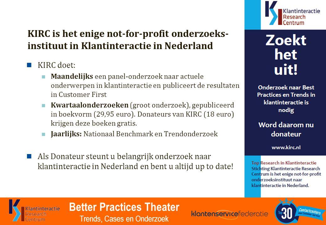 Better Practices Theater Trends, Cases en Onderzoek KIRC is het enige not-for-profit onderzoeks- instituut in Klantinteractie in Nederland KIRC doet: