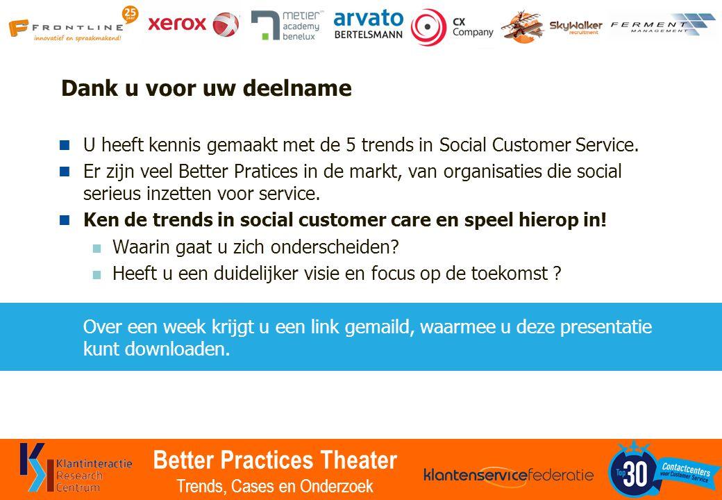 Better Practices Theater Trends, Cases en Onderzoek Dank u voor uw deelname U heeft kennis gemaakt met de 5 trends in Social Customer Service. Er zijn